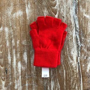 Kids red fingerless gloves